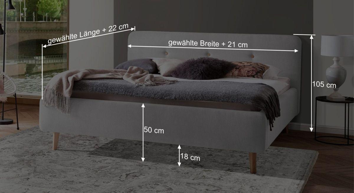 Bemaßungs-Skizze zum Bett Karelia