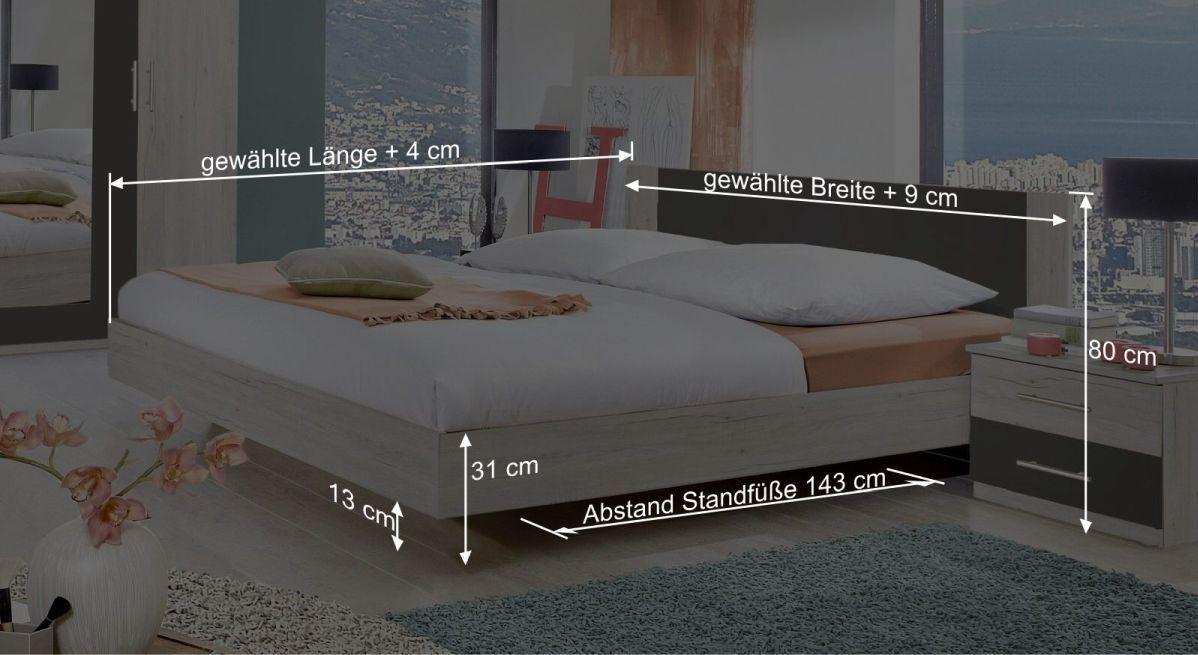 Bemaßungsgrafik zum Bett Kemere