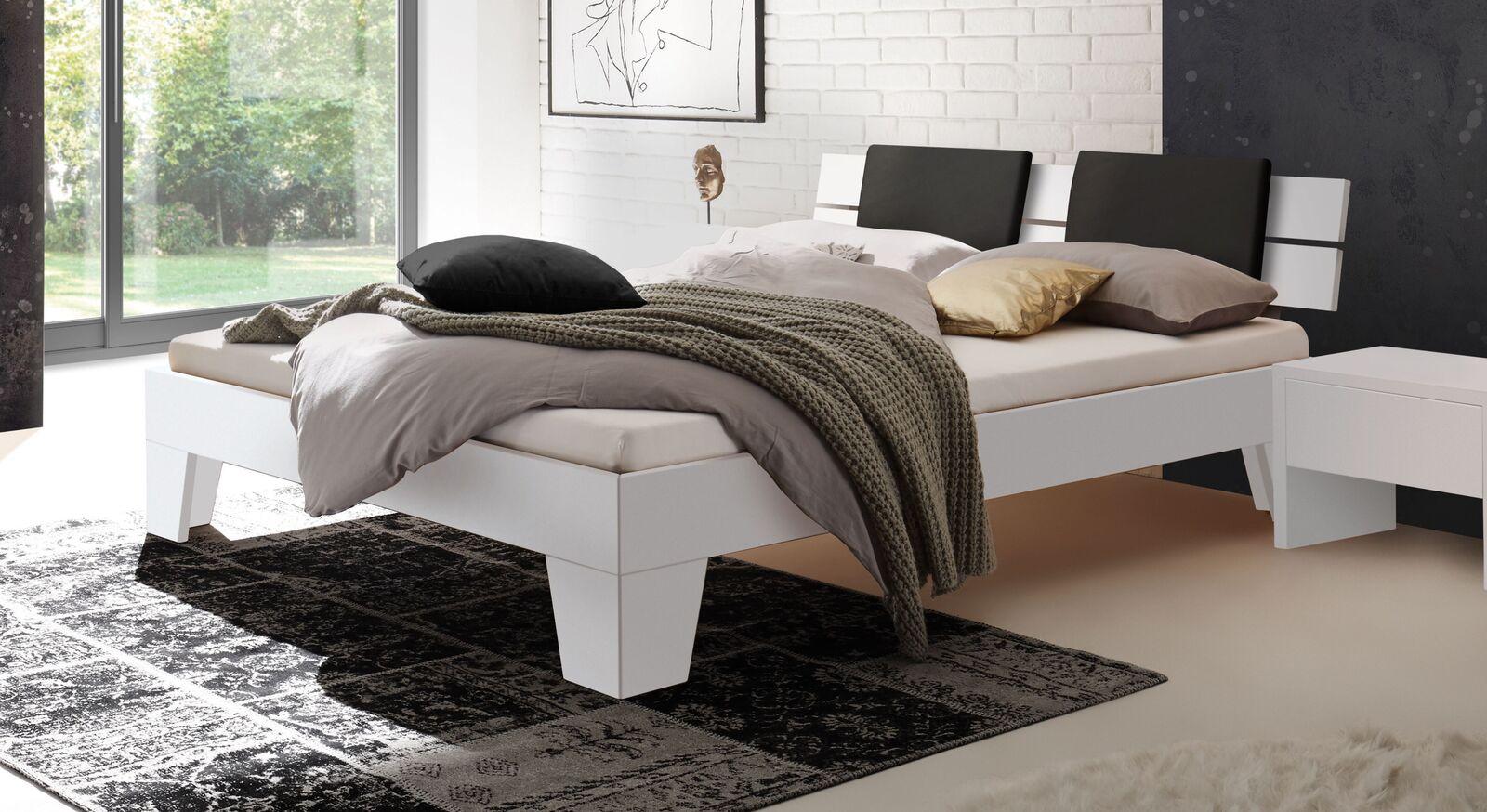 Modernes Bett Kieran in Weiß