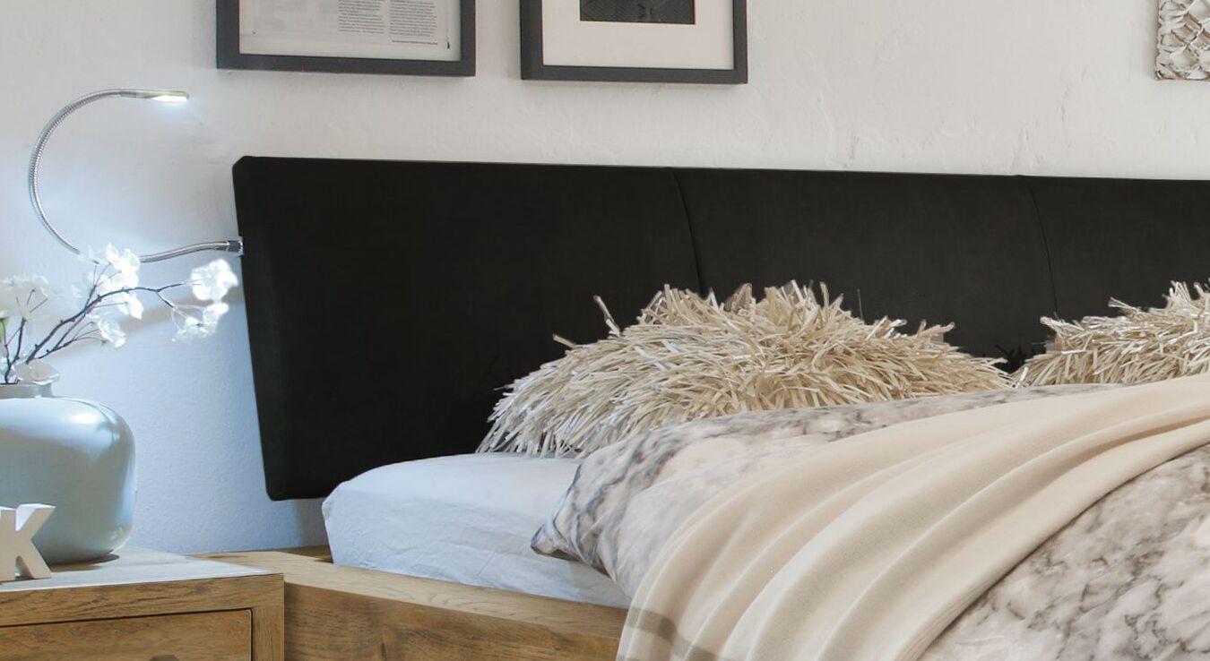 Bett Kolmar mit schwarzem Echtleder-Kopfteil