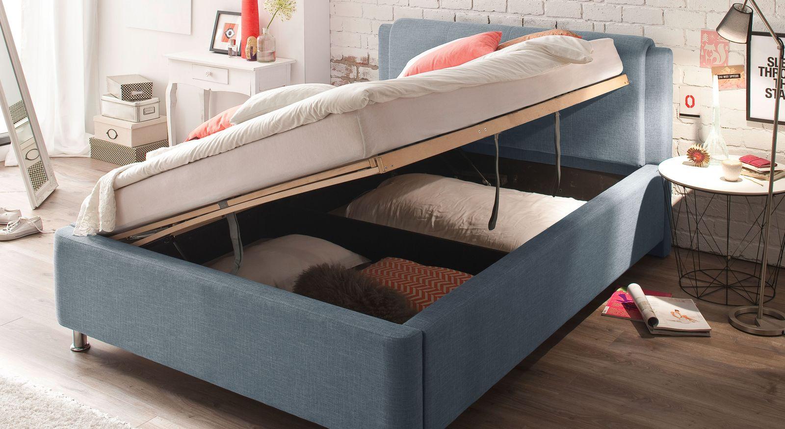 Schmales Bett La Marsa mit Bettkasten über die komplette Bettbreite