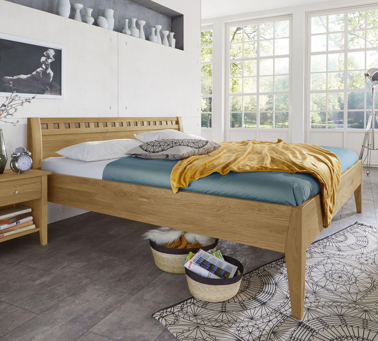 Einzel- und Doppelbett in Komforthöhe Wildeiche massiv - Lancy