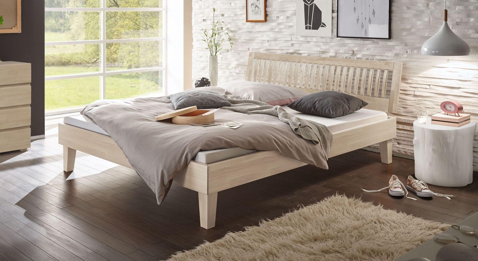 Bett Laredo aus weißer Buche