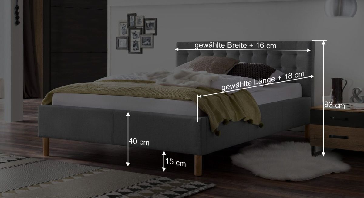 Bemaßungsgrafik vom Bett Lemin