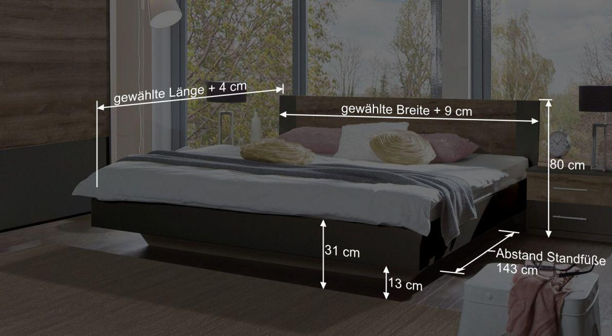 Bemaßungsgrafik zum Bett Lika