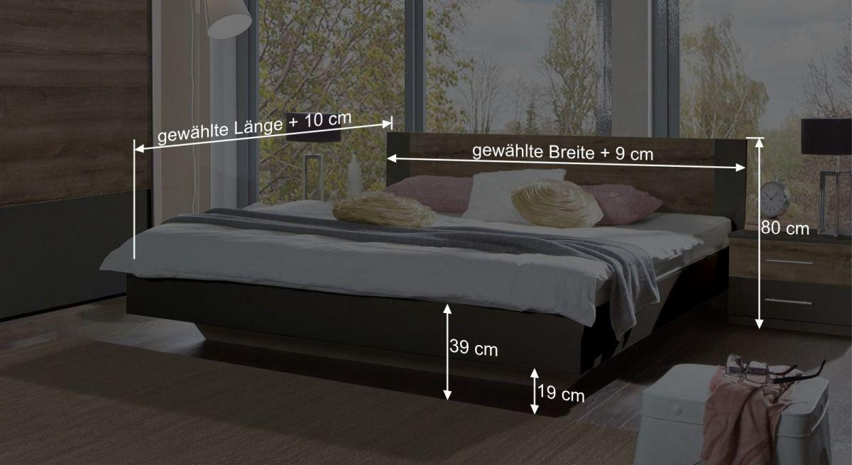Maßgrafik zum Bett Lika