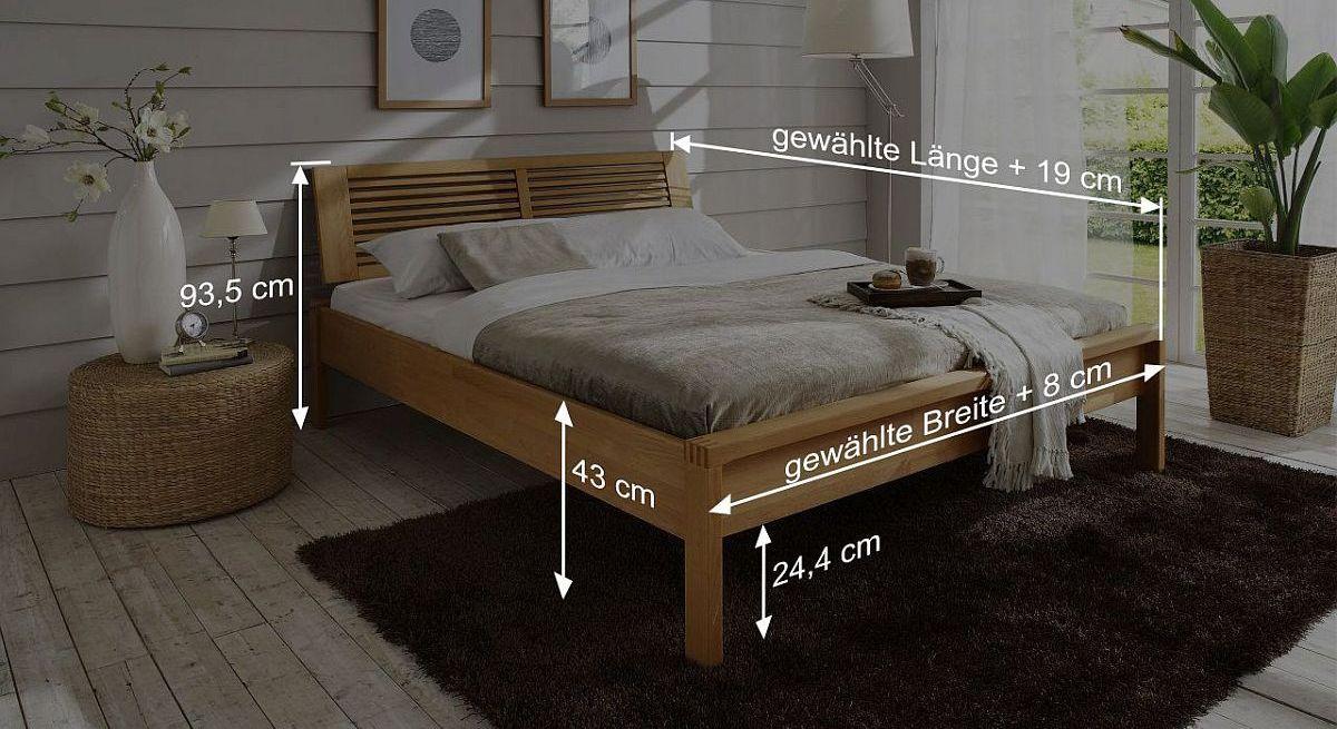 Bemaßungs-Skizze des Bettes Linea