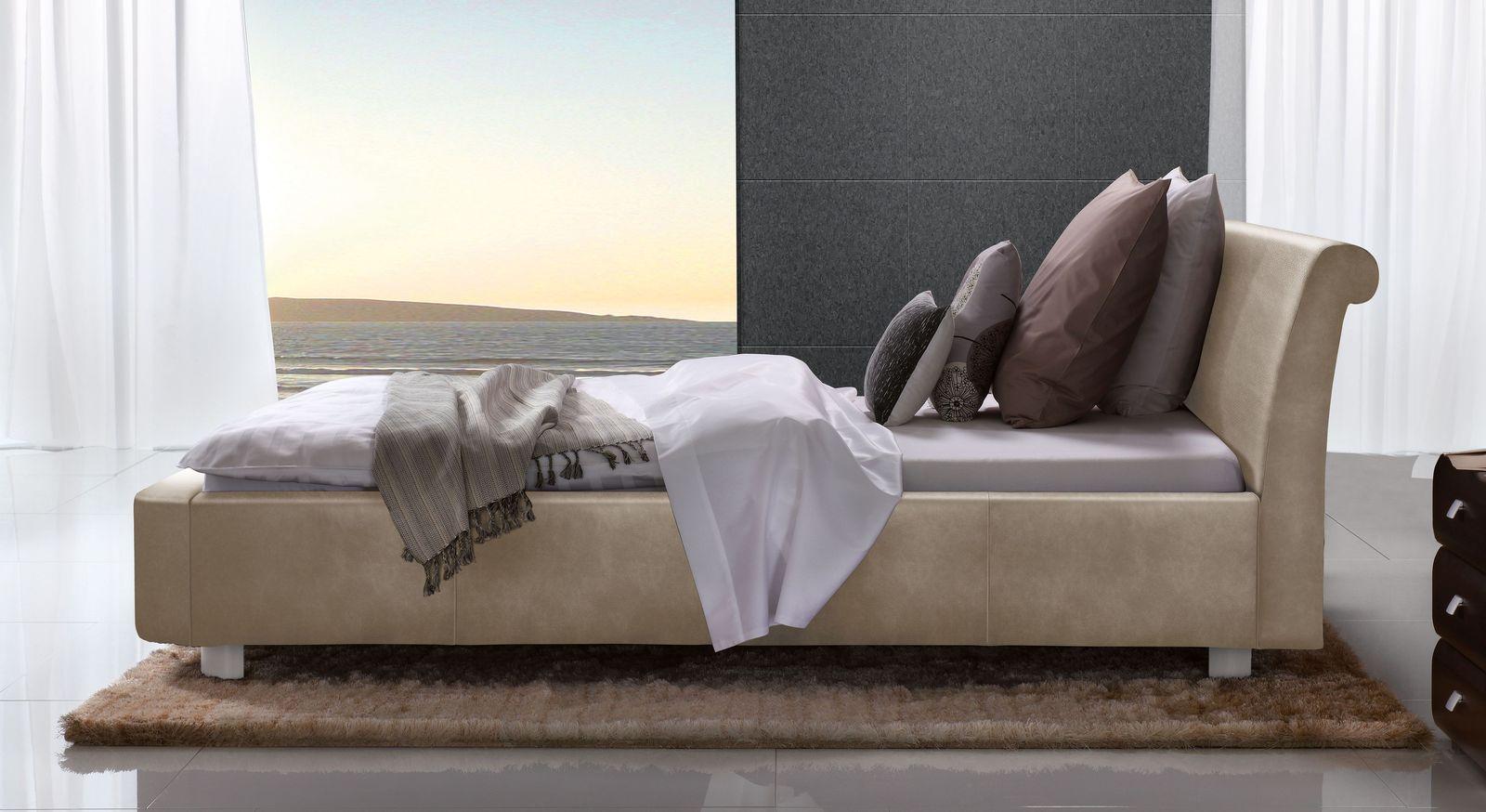 Beigebraunes Bett Macuma mit 10 cm Fußhöhe