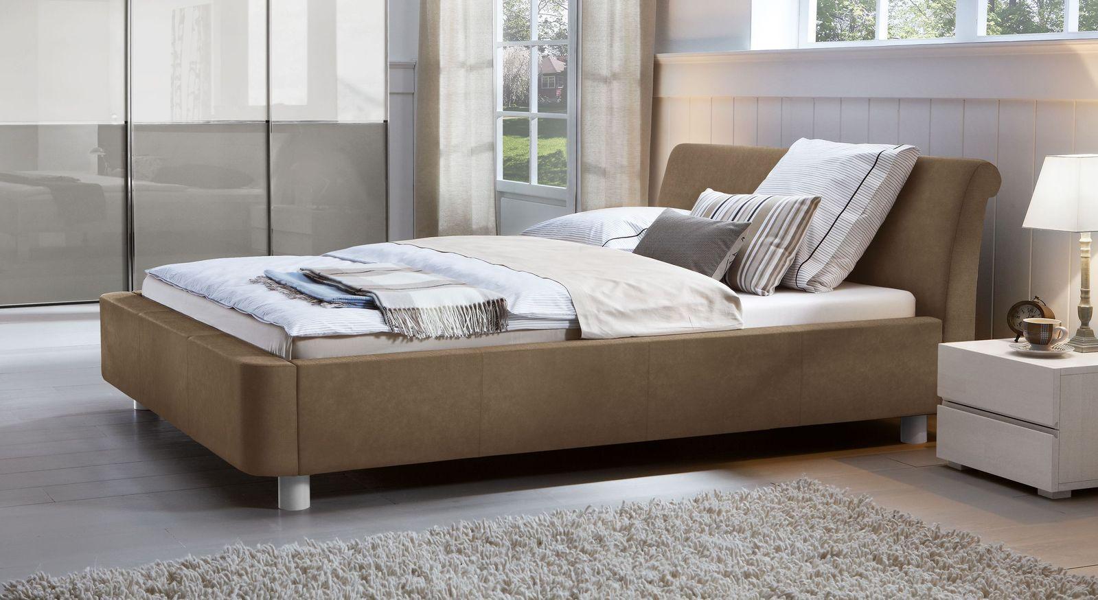 Geschwungenes Kunstlederbett in Standard- & Übergröße - Macuma