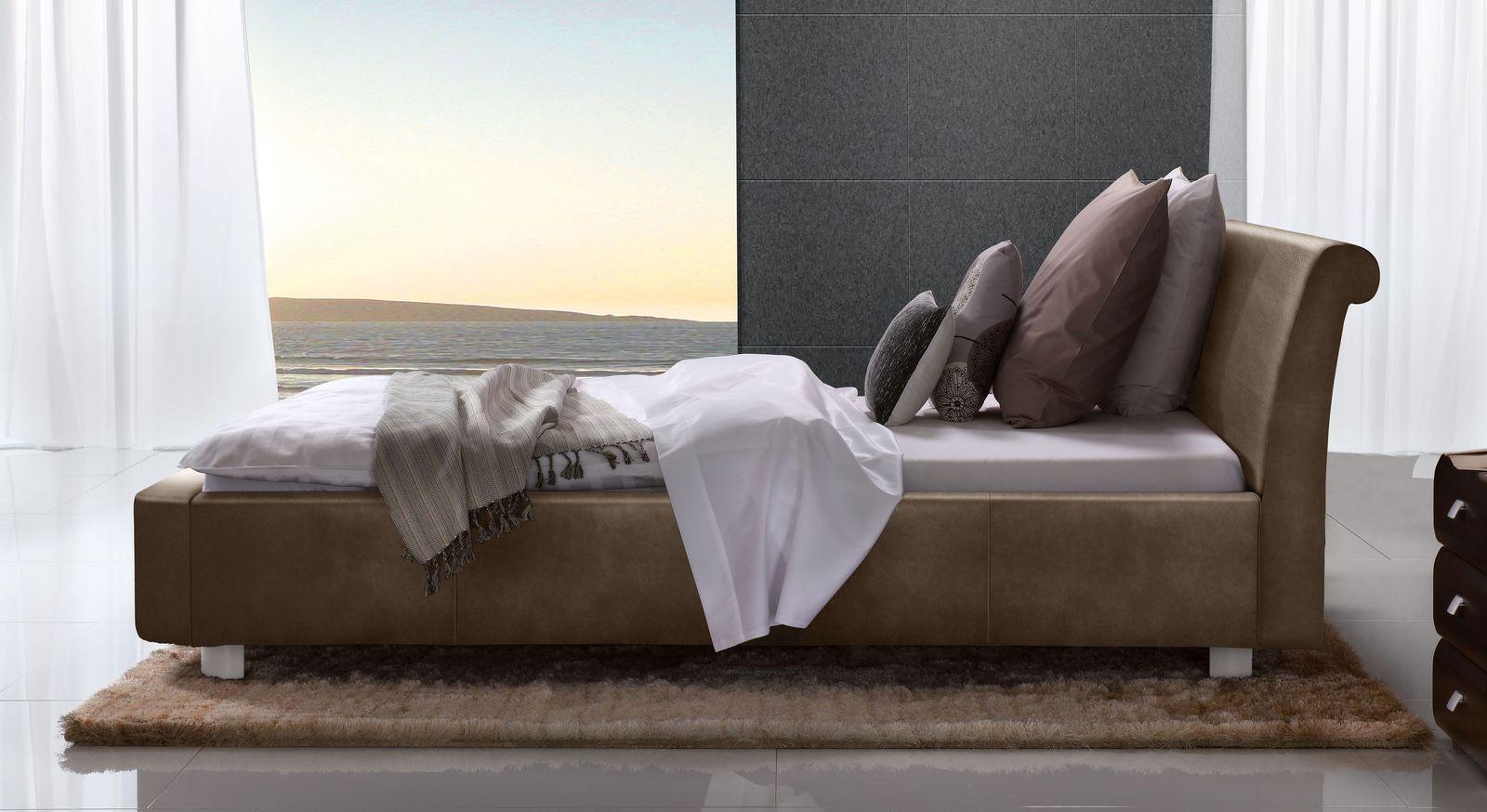 Braunes Bett Macuma mit 10 cm Fußhöhe