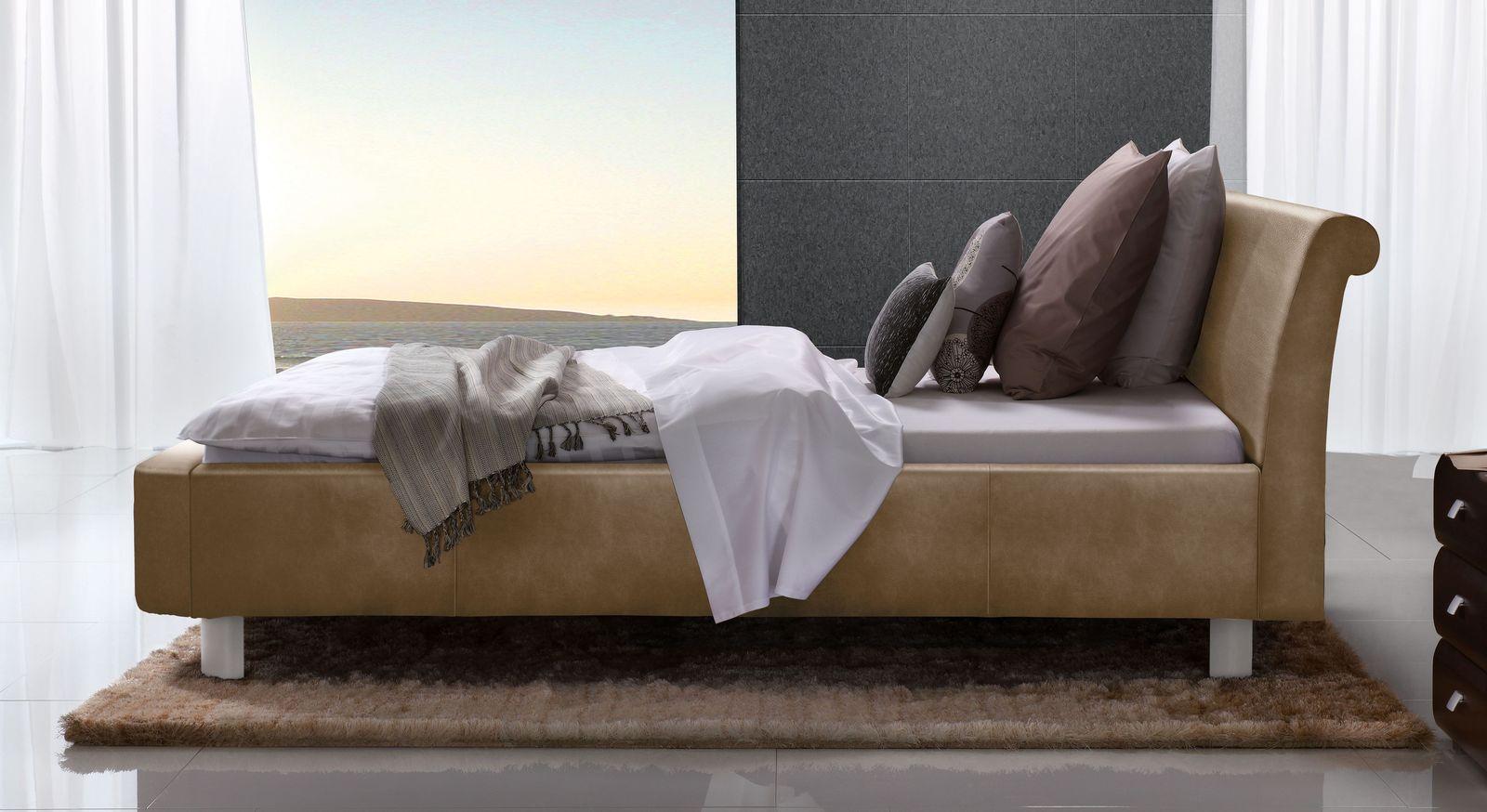 Hellbraunes Bett Macuma mit 20 cm Fußhöhe