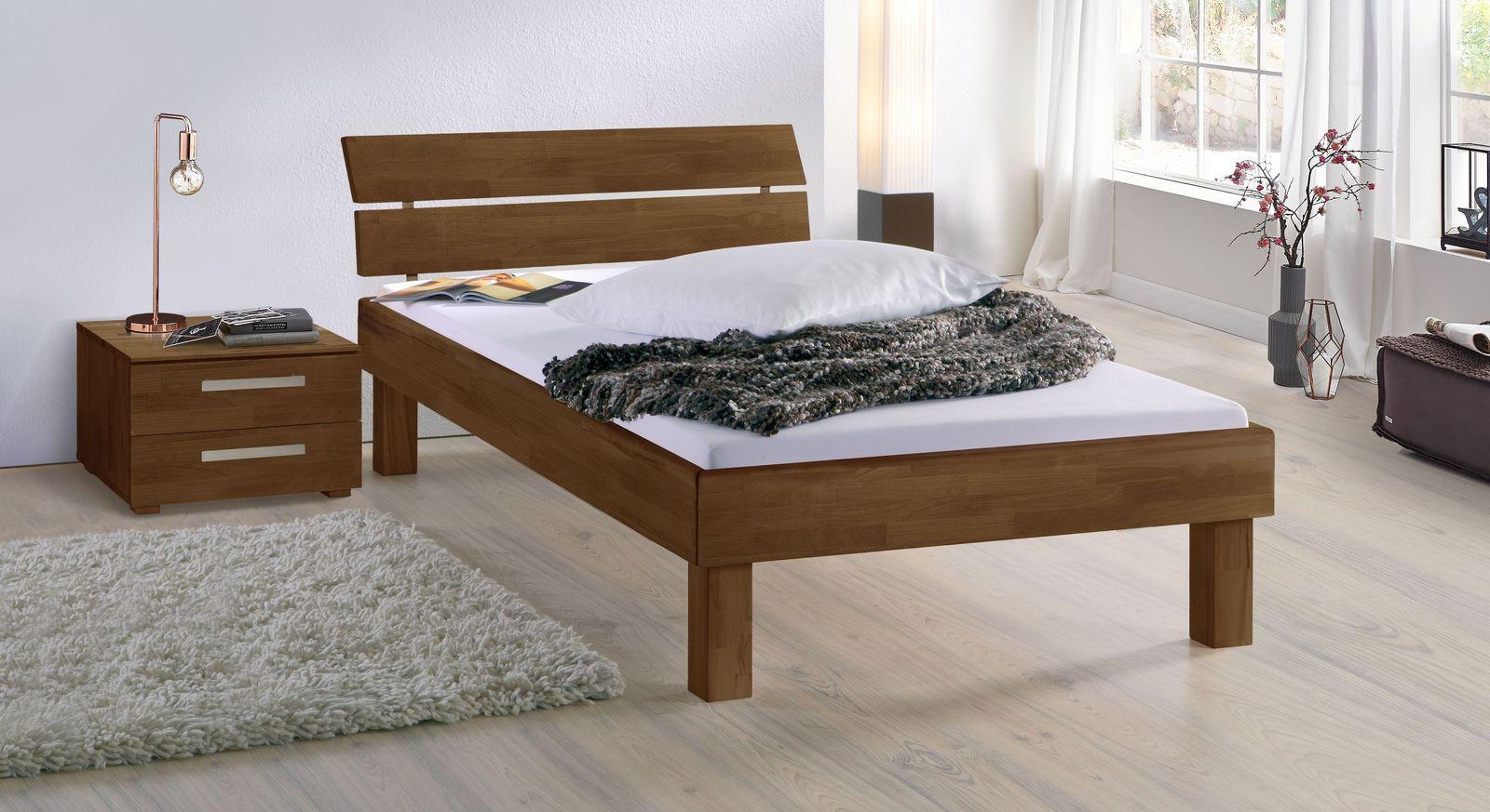 Nussbaumfarbenes Bett Madrid Komfort in 25 cm Höhe