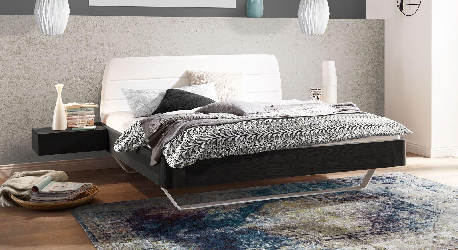 Bett Mancasso aus graphitfarbener Eiche