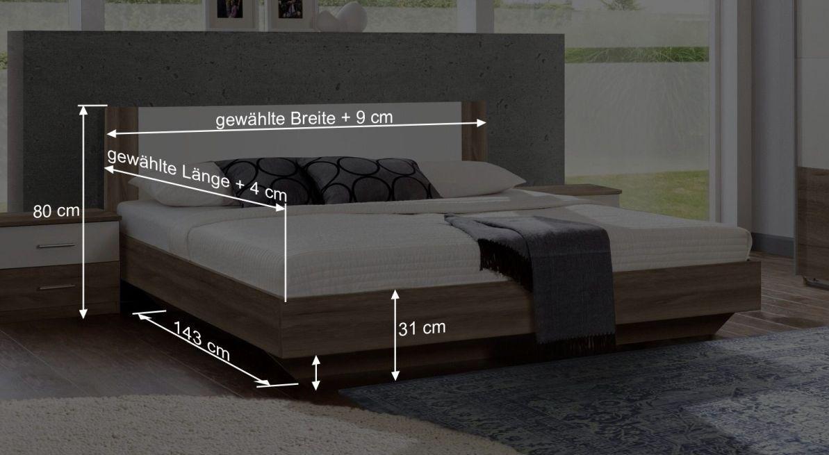 Bemaßungsgrafik zum Bett Mandola