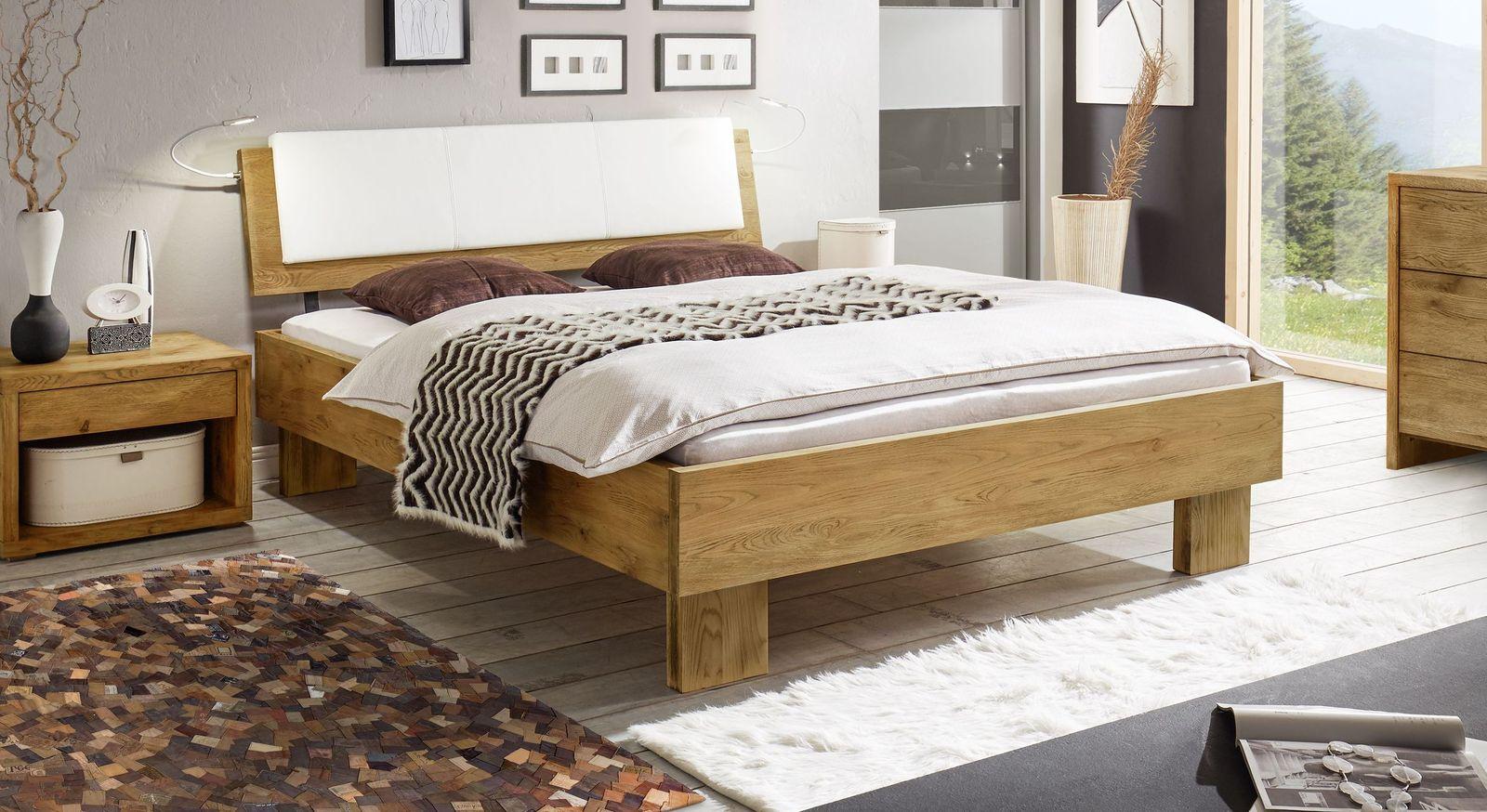 Bett Maraba aus geölter Vintage-Wildeiche