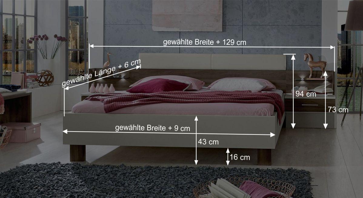 Bemaßungsgrafik zum Bett Moa