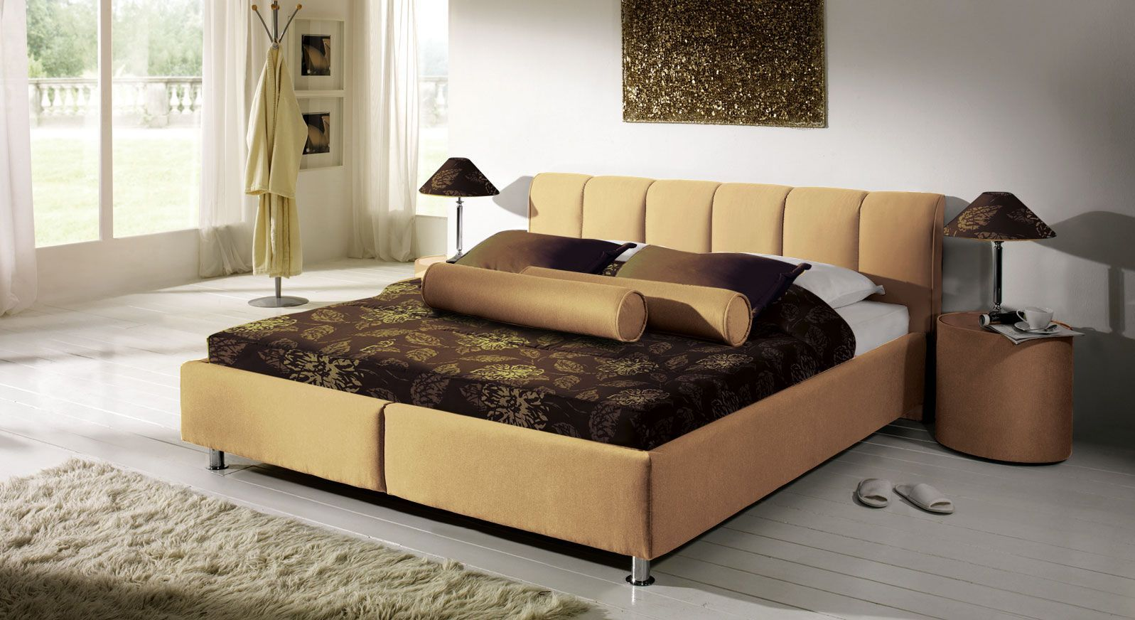 Bett Modica in Hell Beige