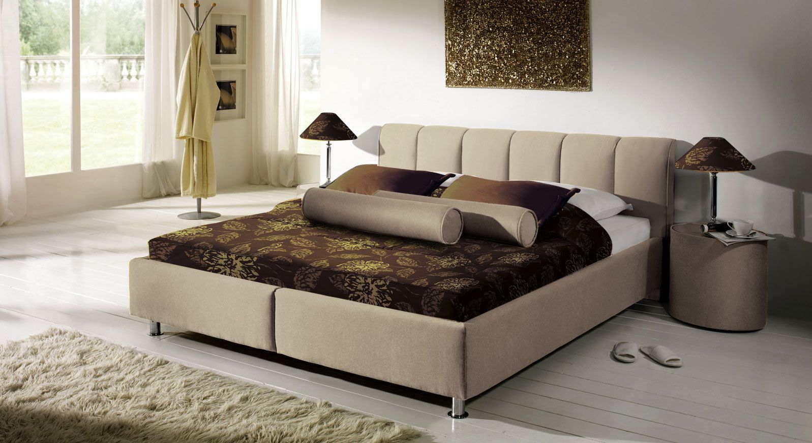 Bett Modica graubeige Microvelours