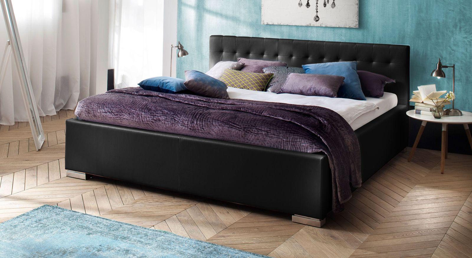 Bett Molare aus schwarzem Kunstleder