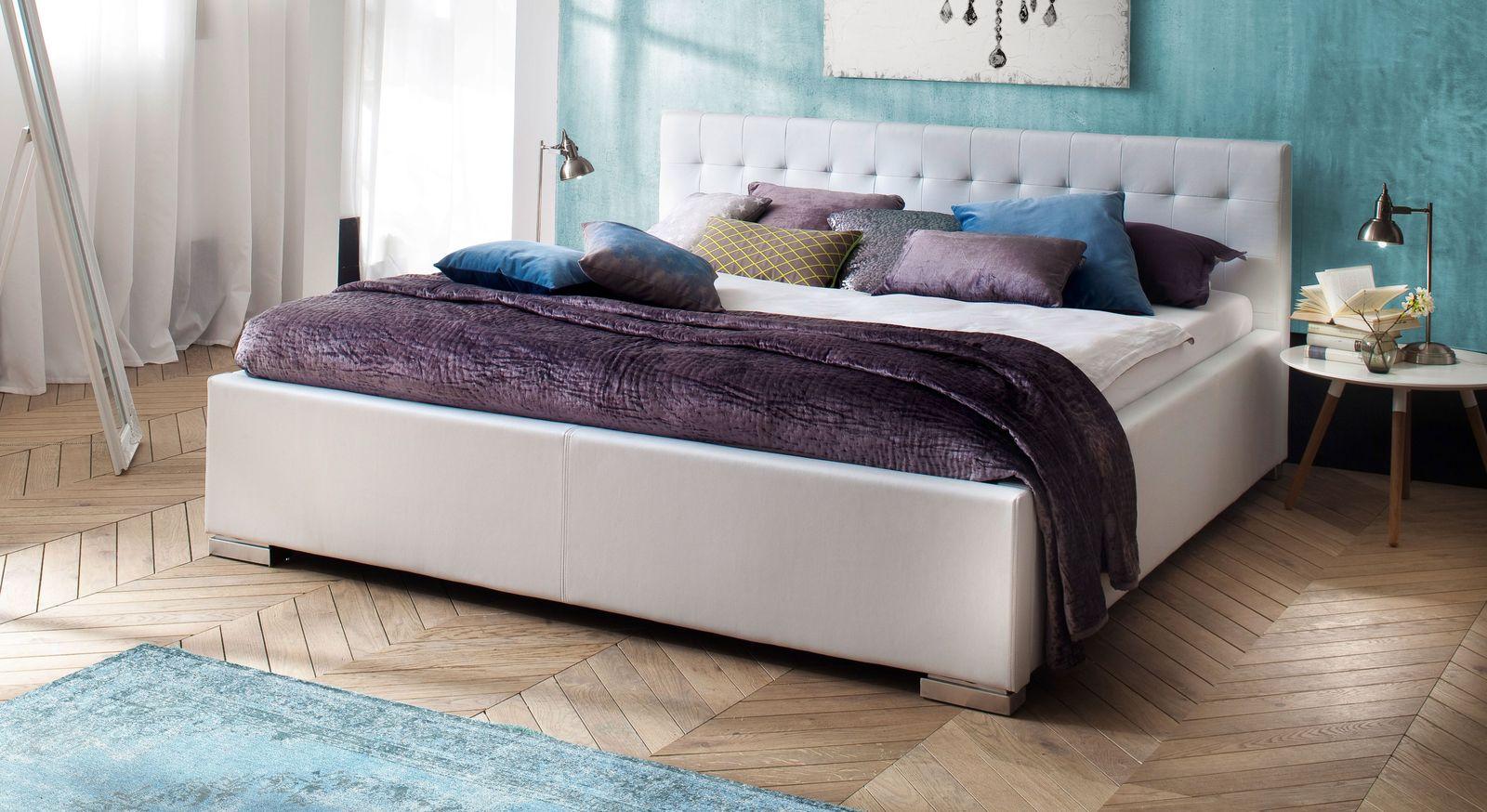 Bett Molare aus weißem Kunstleder