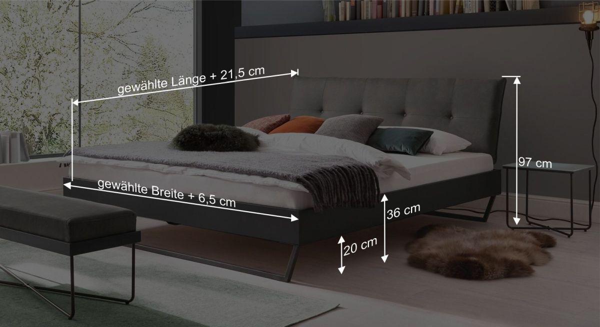 Bemaßungsgrafik zum Bett Morty