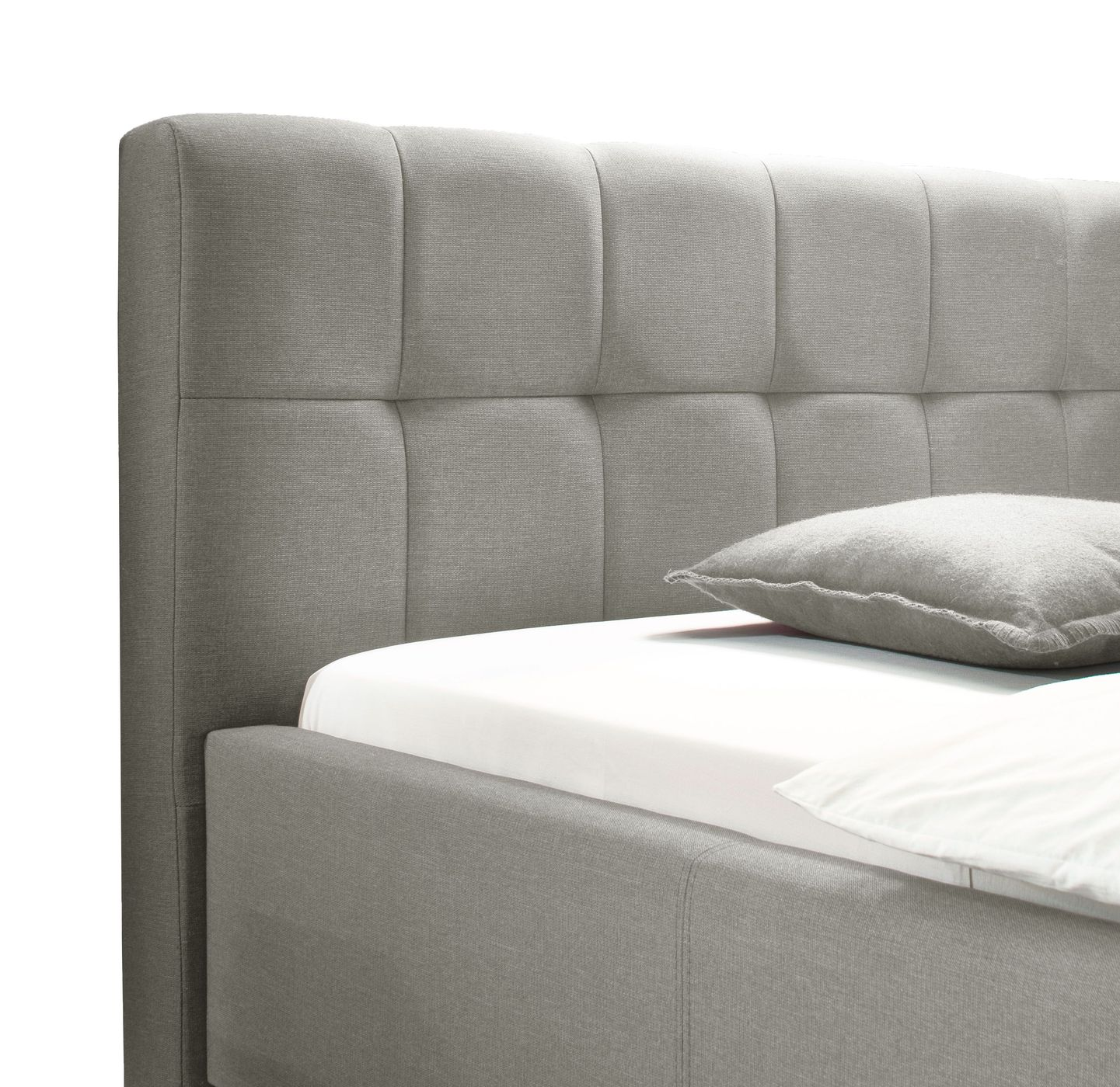 polsterbett in grau f r extra hohe boxspringmatratzen niebla. Black Bedroom Furniture Sets. Home Design Ideas
