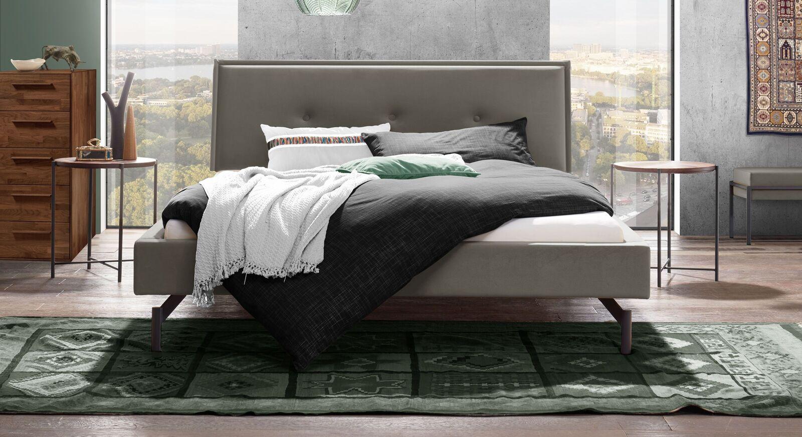 Graues Bett Nocan im Retro-Stil