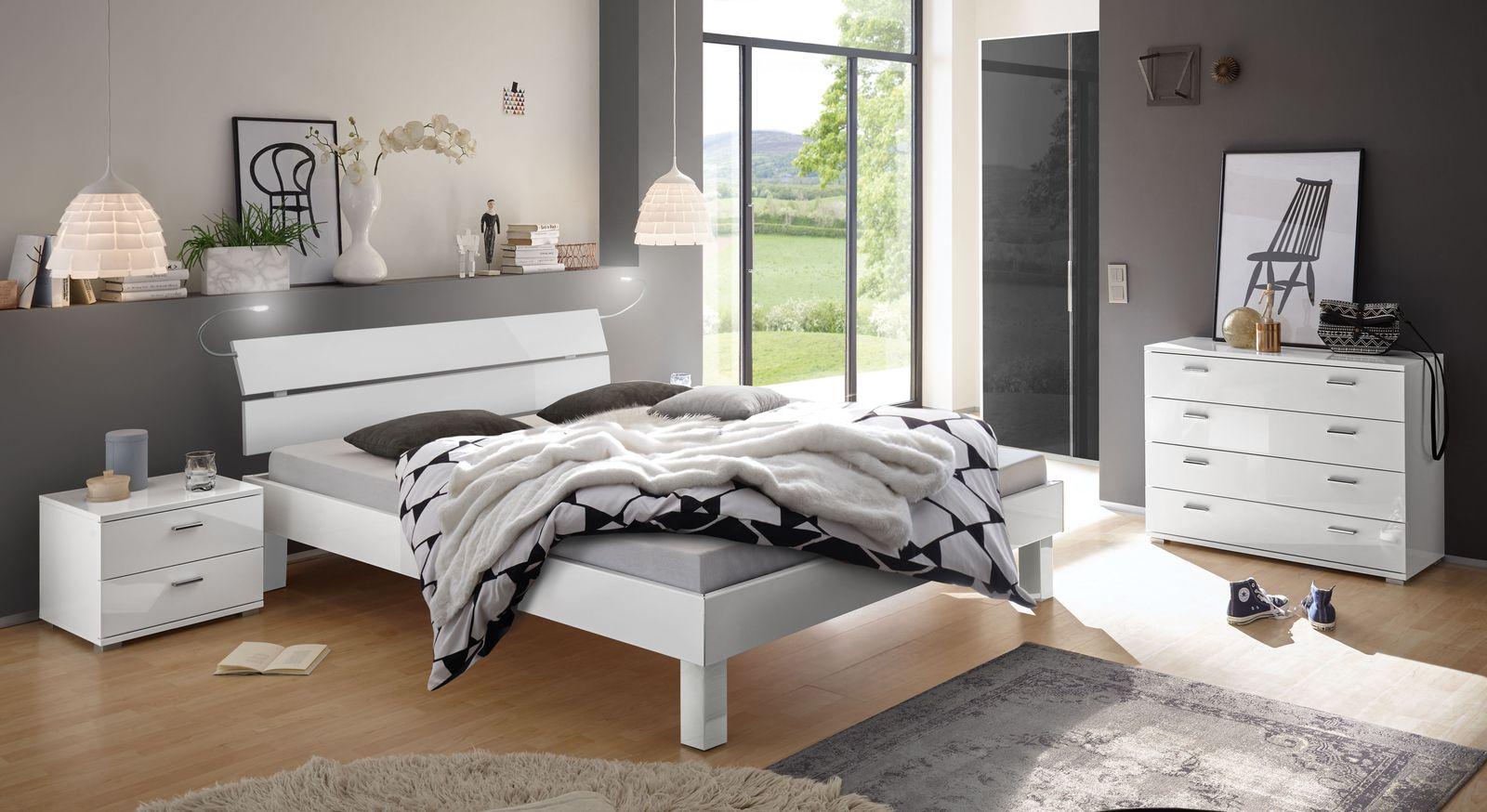 Weißes Hochglanz Designerbett in edlem Design - Norman