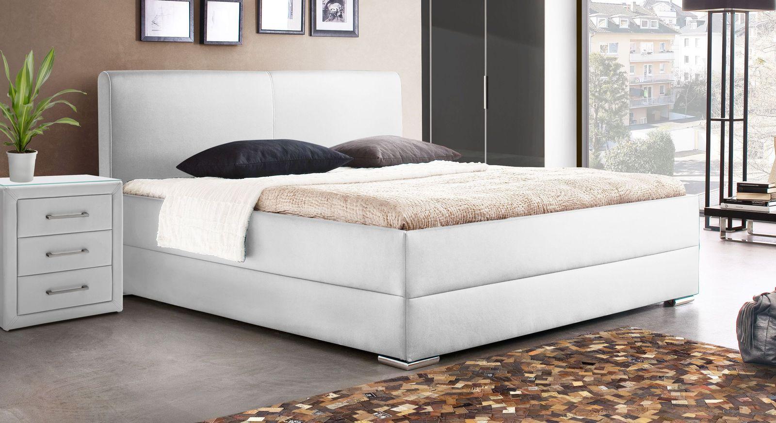 Bett Nulato aus weißem Kunstleder