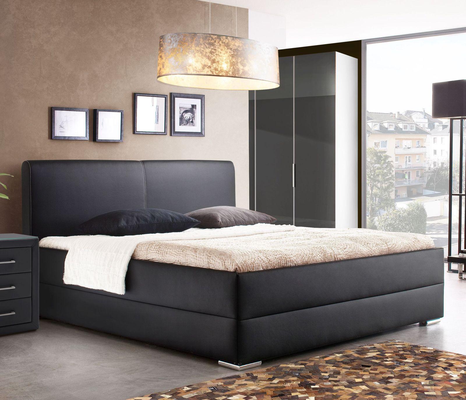 hohes polsterbett in boxspringoptik mit kunstleder nulato. Black Bedroom Furniture Sets. Home Design Ideas