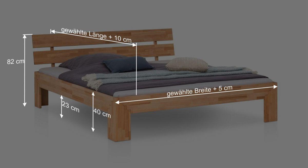 Bemaßungsgrafik zum Bett Oslin