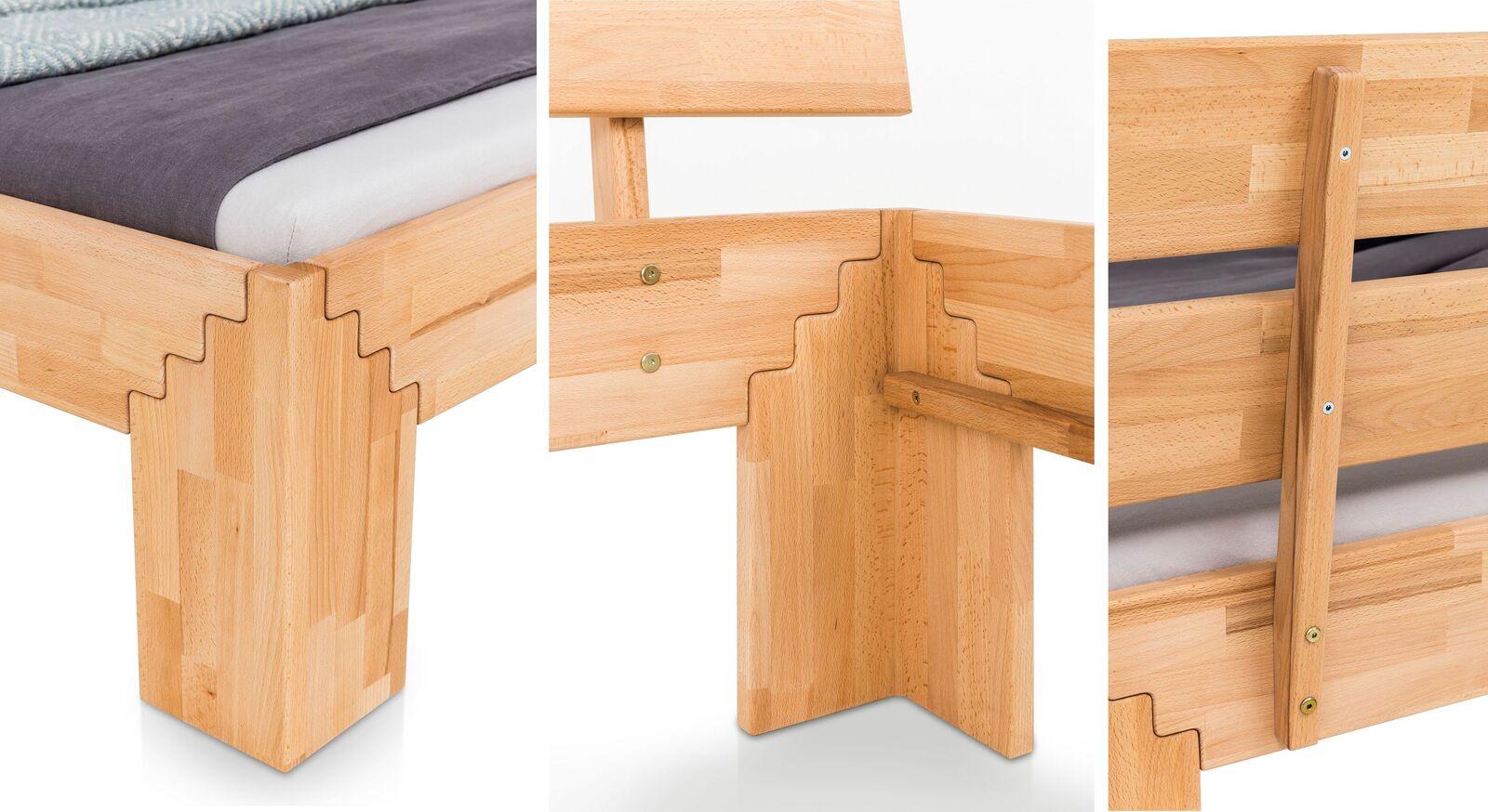 Praktisches Bett Oslin aus Kernbuchenholz