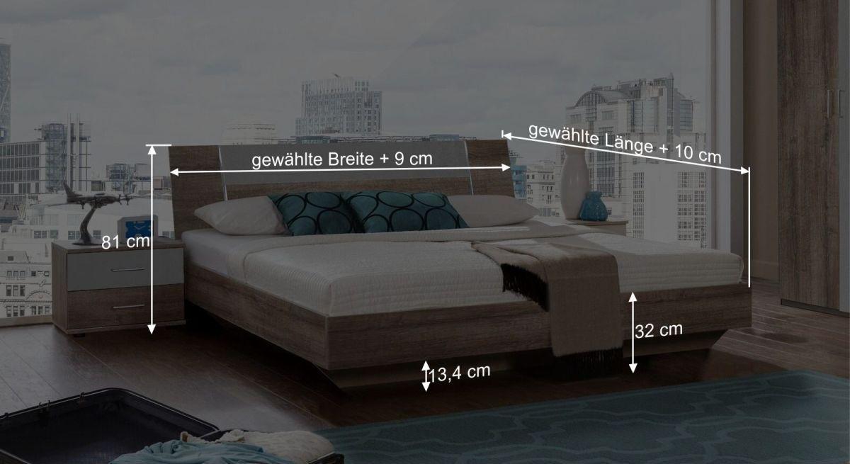 Bemaßungsskizze zum Bett Ovatio