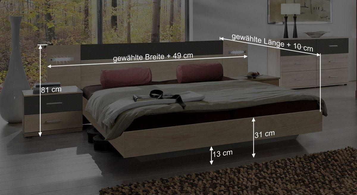 Bemaßungsgrafik vom Bett Pahoa