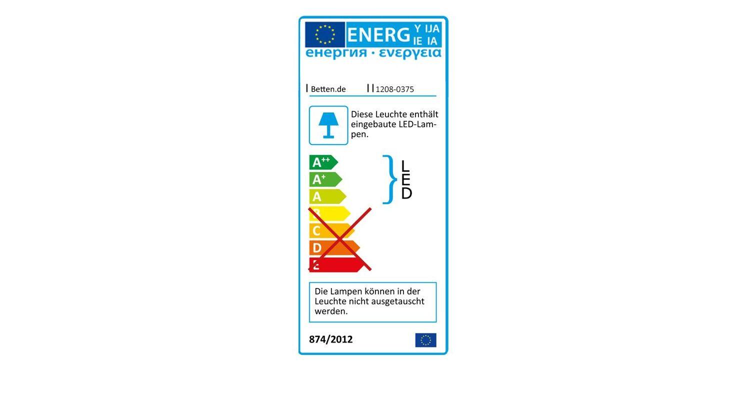 Bett Pahoas Energieverbrauchskennzeichnung