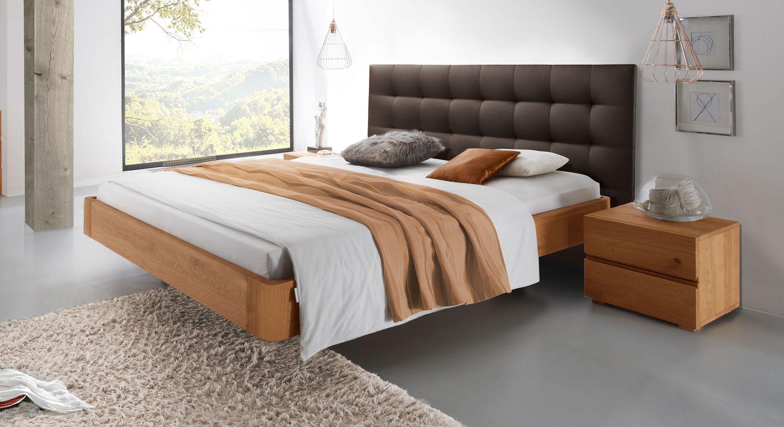 Bett schwebende Optik aus Eiche natur behandelt - Bett Panama
