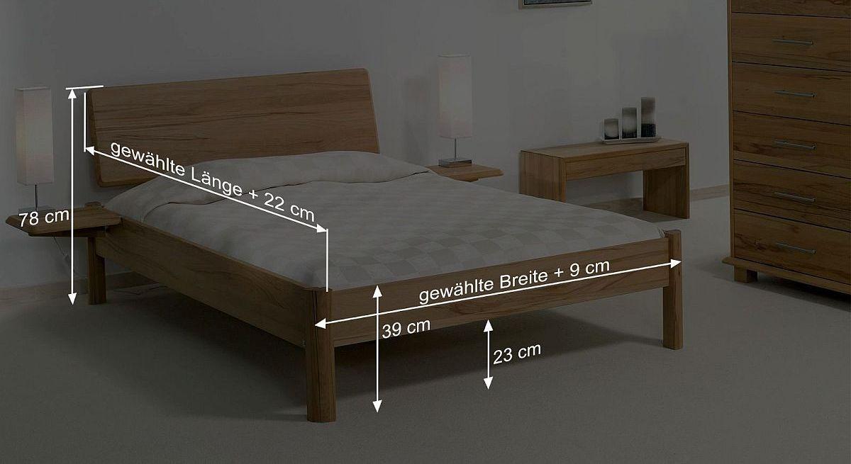 Bemaßungsskizze zum Bett Pavia