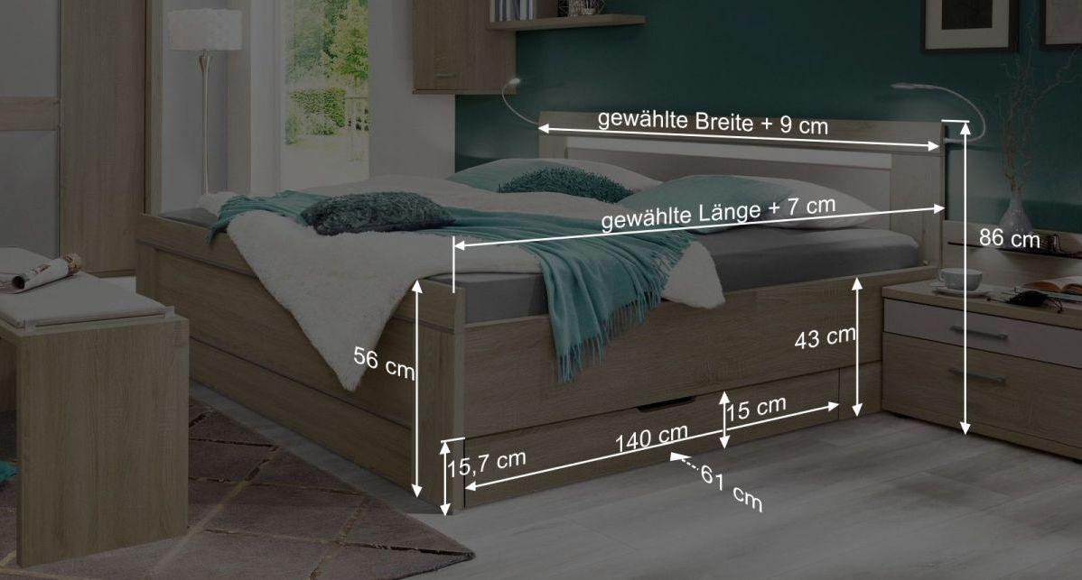 Informative Maßgrafik zum Bett Pelham