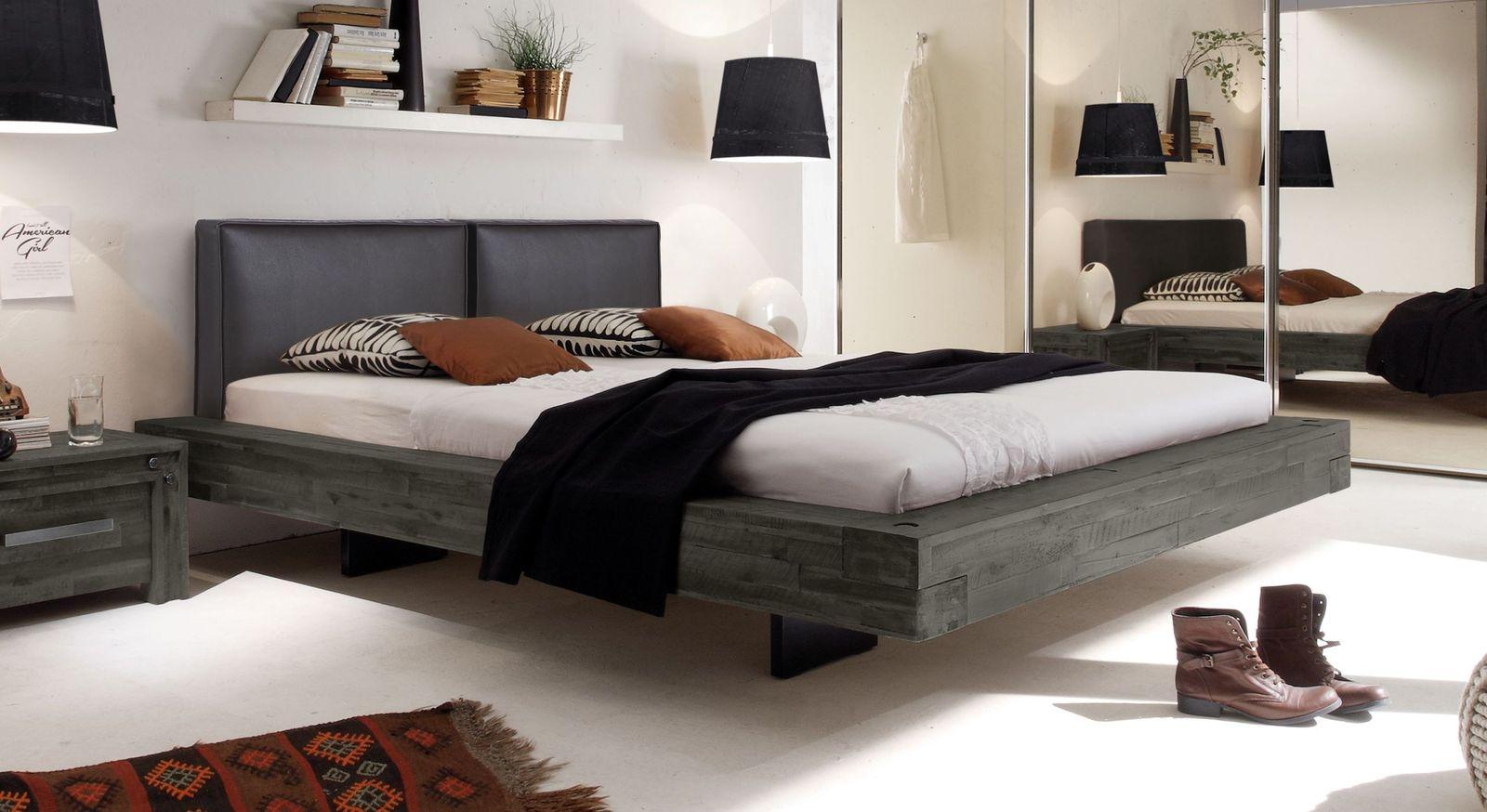 Bett Penco aus grauem Akazienholz