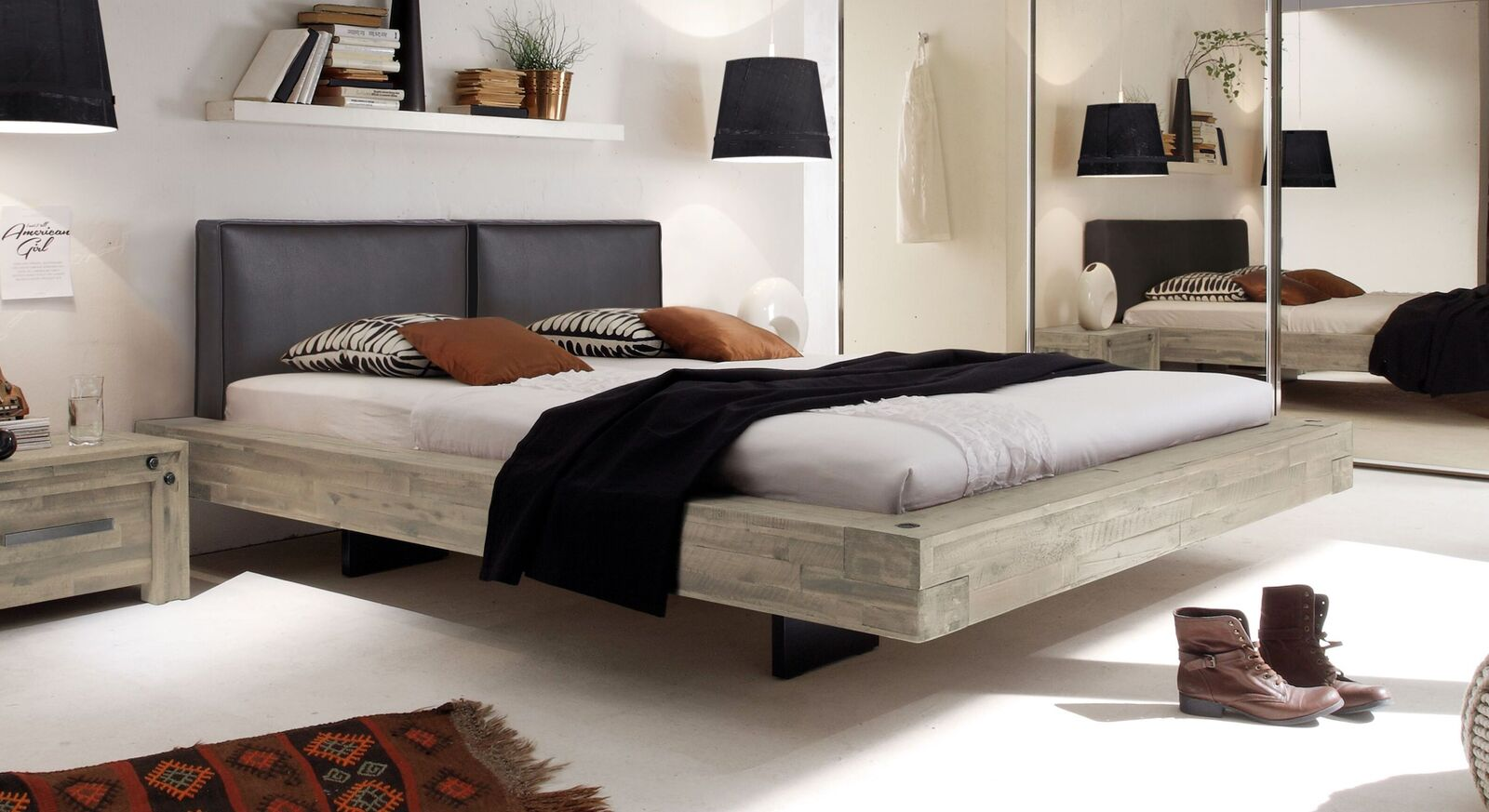 Bett Penco aus weißem Akazienholz