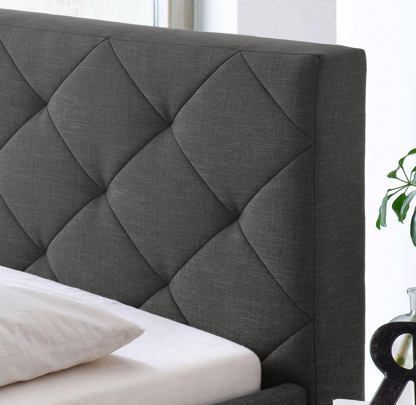 polsterbett mit hohem bettrahmen in boxspring optik perryville. Black Bedroom Furniture Sets. Home Design Ideas
