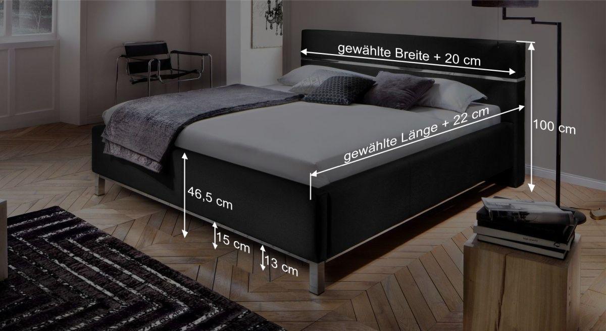 Bemaßungsgrafik zum Bett Pertuso