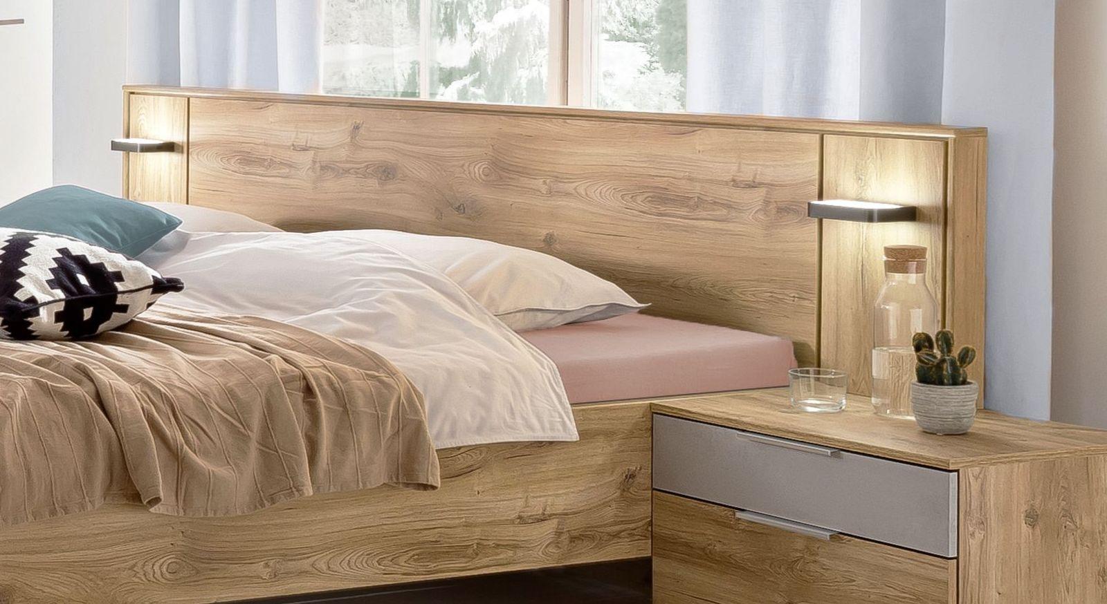 bett schwebend in plankeneiche dekor mit beleuchtung pomona. Black Bedroom Furniture Sets. Home Design Ideas