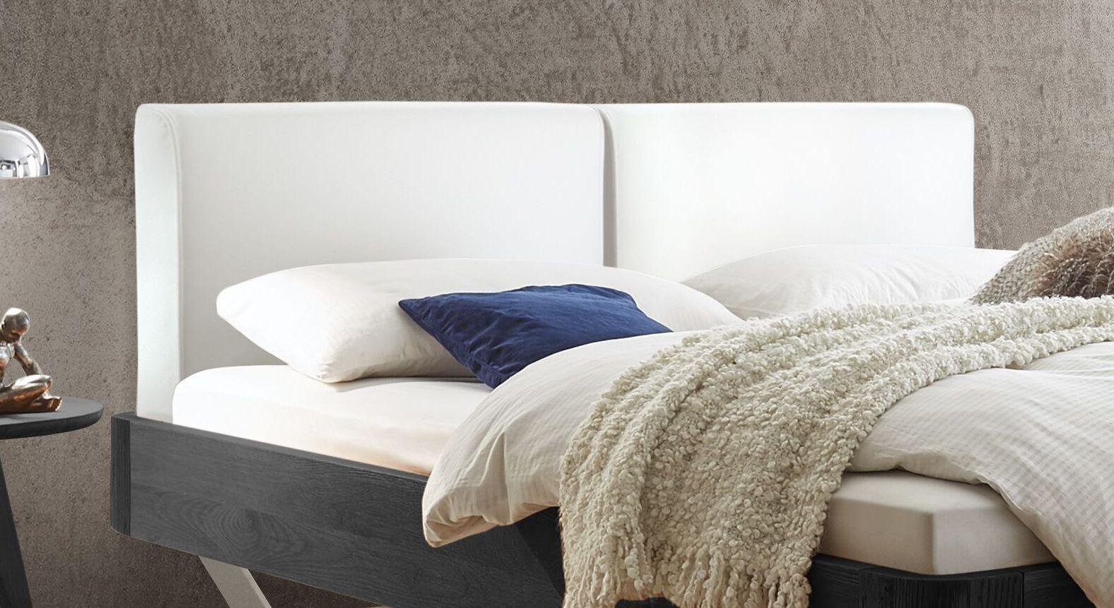 Bett Poncas mit weißem Kopfteil aus Luxus-Kunstleder