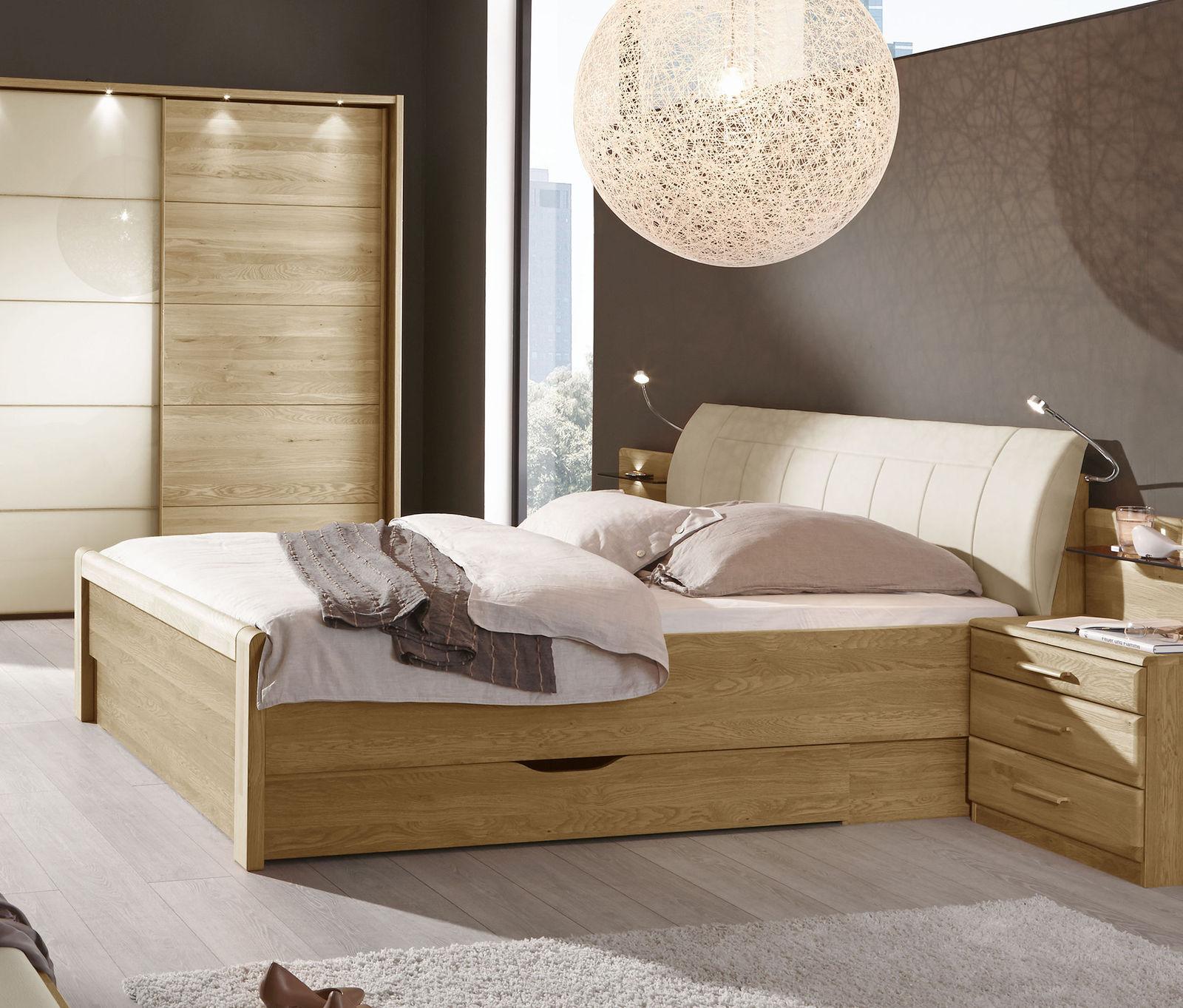 schubkastenbett teilmassive eiche mit kunstleder kopfteil. Black Bedroom Furniture Sets. Home Design Ideas