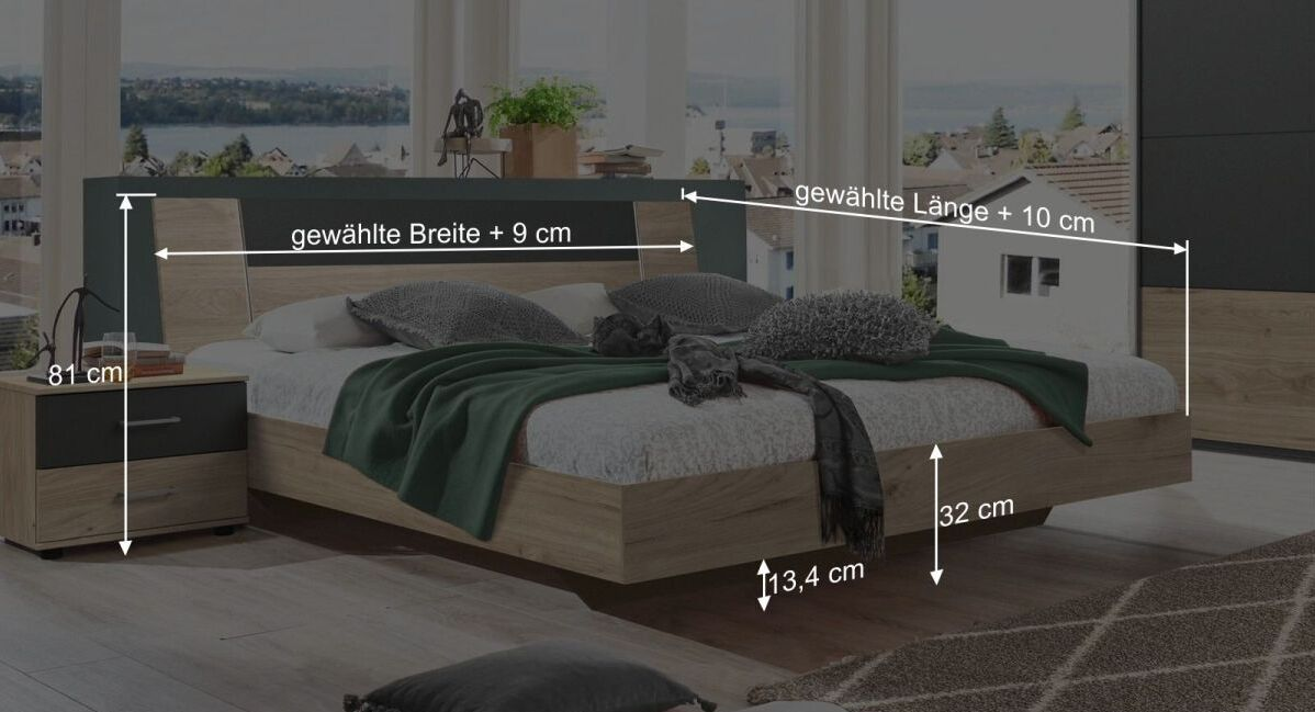 Bemaßungs-Skizze zum Bett Prenor