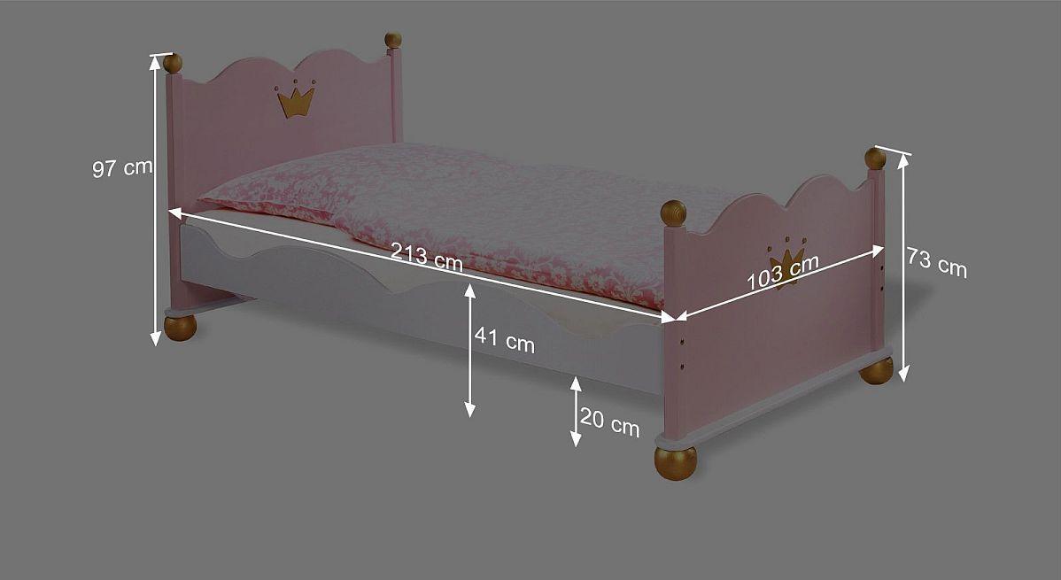 Bemaßungsskizze zum Bett Prinzessin Karolin
