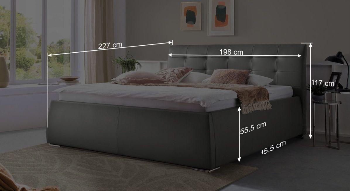 Bemaßungs-Grafik zum Bett Pungo