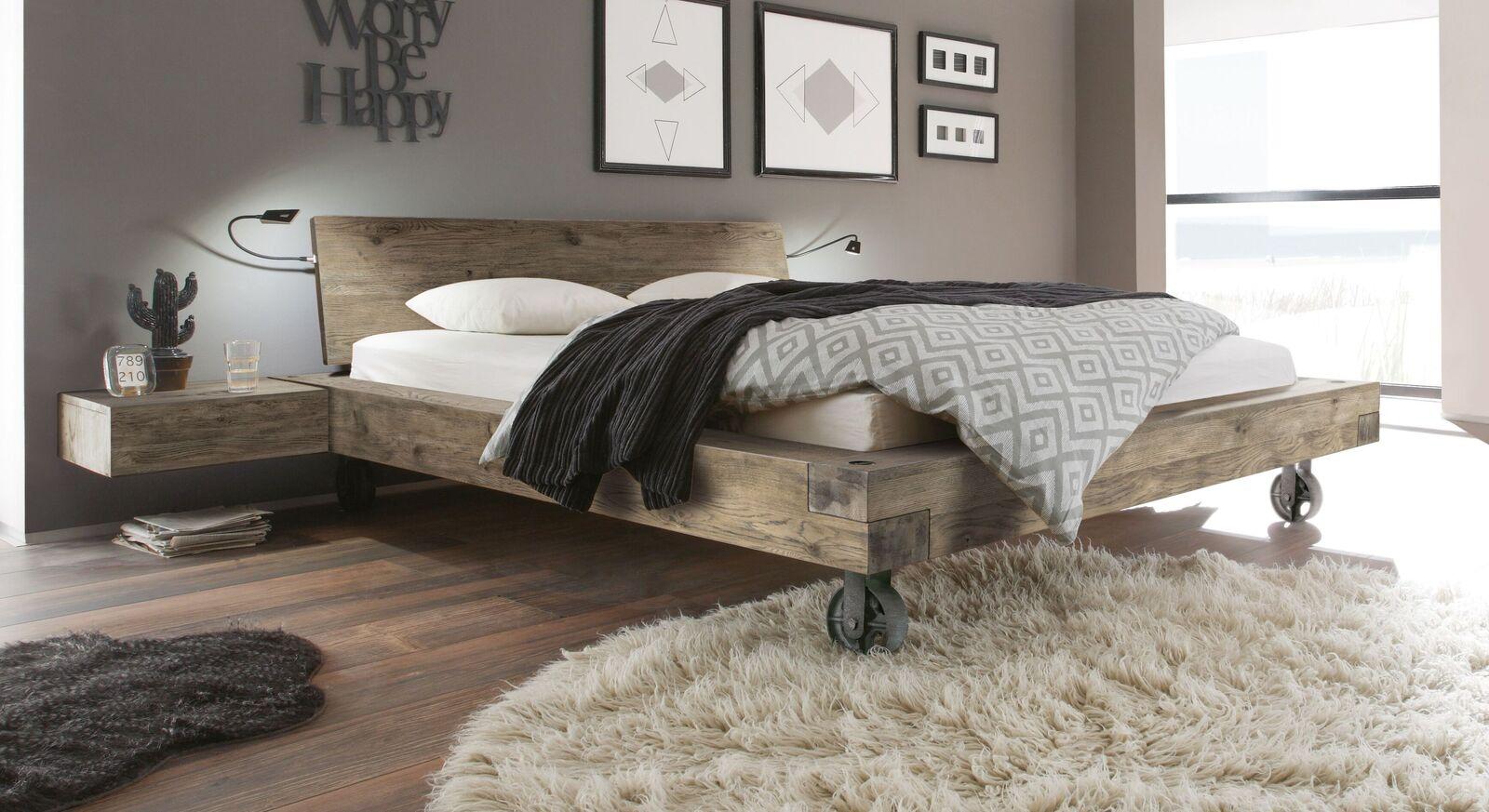Holzbett Quesada aus Vintage Wildeiche in Terrabraun