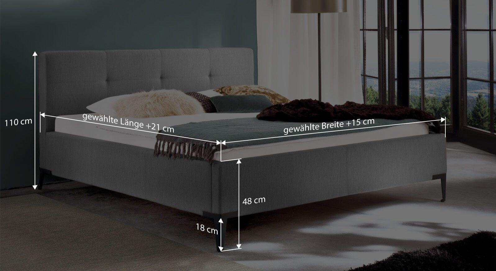 Bemaßungsgrafik zum Bett Raritan